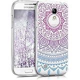 kwmobile Funda para Galaxy S4 Mini Samsung - Case de cristal para móvil en TPU silicona - Cover trasero de cristal Diseño sol indio azul rosa fucsia transparente