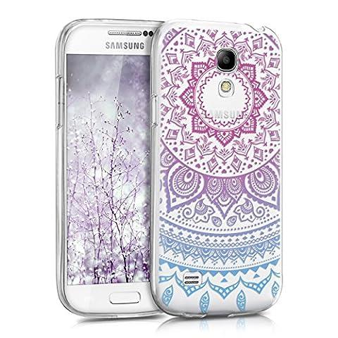 kwmobile Hülle für Samsung Galaxy S4 Mini i9190 / i9195 - TPU Silikon Backcover Case Handy Schutzhülle - Cover klar Indische Sonne Design Blau Pink Transparent