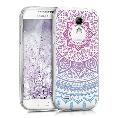kwmobile Samsung Galaxy S4 Mini Hülle - Handyhülle für Samsung Galaxy S4 Mini - Handy Case in Blau Pink Transparent
