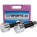 Scsports 5 kg Kurzhantel-Set, mit 2x Kurzhantelstange, Hantelscheiben chrom, komplett zerlegbar im Koffer, pink