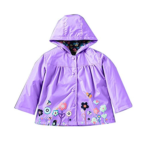 ROT Kids Girls Clothes Jacket Raincoat Waterproof Hooded Coat Outerwea (110cm(Age for 3.5T-4.5T), Purple)