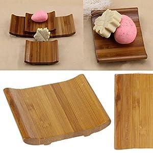 Yanhonin – Portarrollos de madera de bambú natural hecho a mano para jabón, cuarto de baño
