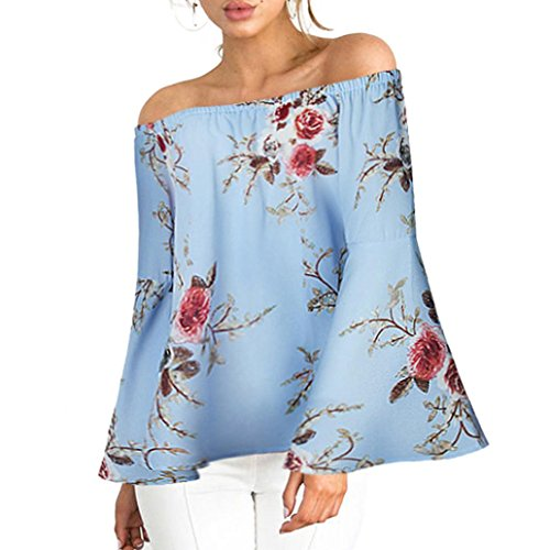 FNKDOR Spring Fashion Women Party Elegant Casual Floral Printing Off Shoulder T-Shirt Long Sleeve Tops Blouse Gifts