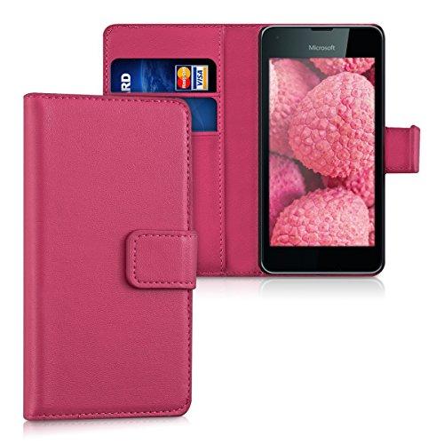 kwmobile Wallet Case Hülle für Microsoft Lumia 550 - Cover Flip Tasche mit Kartenfach und Ständerfunktion in Pink