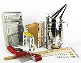 Imker Anfänger Set 7+1 Teile Imkerei-Zubehör für Bienenzucht Werkzeug mit Smoker Entdeckelungsgabel Besen Stockmeisel-Bienen Tabelle mit Jahreszeiten der Königin Starterset Imkereibedarf Ausrüstung