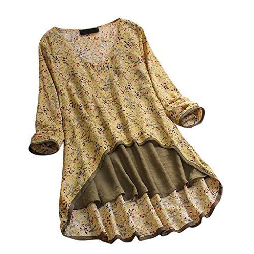 VJGOAL Tops Damen Große Größen T Shirt Lange Ärmel V-Ausschnitt Lose Drucken Fake Zwei Stücke Bluse 7 Größe (Fake-blut Halloween Machen Für)