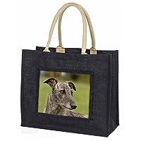 Advanta Group Lurcher Dog Large Black Shopping Bag Idea, Jute 42 x 34.5 x 2 cm