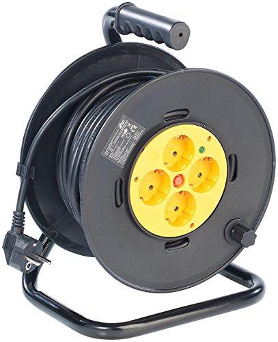 AGT Elektrokabel: Kabeltrommel, 25 m, mit 4 Steckdosen und Schutzschalter (Elektro Kabel mit Mehrfachstecker)