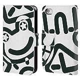 Head Case Designs Offizielle Turnowsky Gekritzel Schwarz Und Weiss Muster 2 Brieftasche Handyhülle aus Leder für iPhone 4 / iPhone 4S