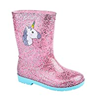 Lora Dora Glitter Unicorn Girls Wellington Boots Pink