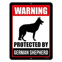 ‏‪Honey Dew Gifts Beware of Dog Sign Warning Protected by German Shepherd 9 x 12 Inch Beware of Dog Warning Metal Aluminum Sign Decor Beware of Dog Sign‬‏
