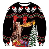 FRAUIT Frauen/Herren Weihnachts Pullover Unisex Sweatshirt Lustige 3D gedruckte Lange Hülsen-Shirts Verärgertes Boxerkätzchen