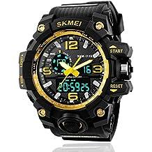 Reloj de pulsera analógico y digital para hombre, diseño deportivo estilo militar, resistente al agua, para uso en exteriores, con función calendario y alarma, color dorado