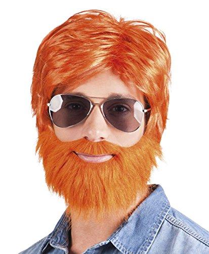 Dude Perücke Kostüm - Boland 85736 Erwachsenenperücke Dude, orange, One