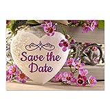 15 x Save the Date Karten mit Umschlag / Graviertes Herz / Hochzeit / Heiraten / Geburtstag / Einladung / Verkündung