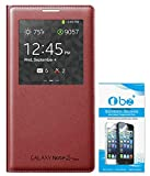 TBZ Non-Sensor Flip Case for Samsung Galaxy Note 3 Neo - N7505 with Tempered Screen Guard -Red - (Not for Note 3 N9000)