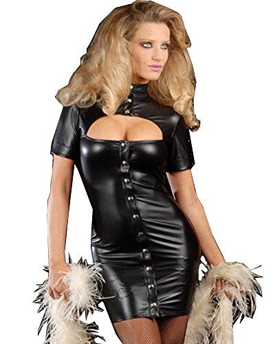 Fashion Queen a maniche corte da donna Hollow Out anteriore Catsuit nero pulsante vestito gotico punk Mini Abito Clubwear prestazioni costume Black Taglia unica