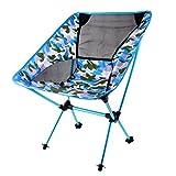 perfk Tragbarer atmungsaktiv Camping-Stuhl, Ultraleicht zusammenklappbar Angelstuhl, Belastbar bis 150 kg - Camo Blau