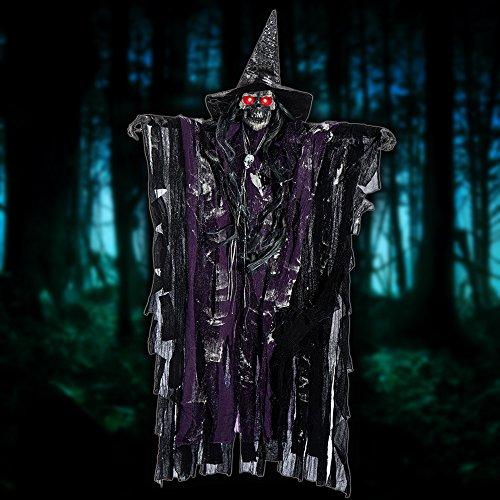 Littlegrasseu Halloween Deko Hängende Hexe Sprachbedienung und Leuchtend -