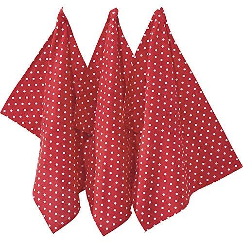 REDBEST Geschirrtuch, Trockentuch Punkte 3er- Pack, 100% Baumwolle rot Größe 50x70 cm - Robustes, glattes Gewebe, besonders saugstark, mit Aufhängung (weitere Farben) (Geschirrtuch Rot)