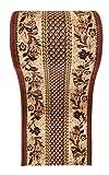 Läufer Teppich Flur in Beige Braun - Traditionell Europäisch Muster - Kurzflor Teppichlaufer