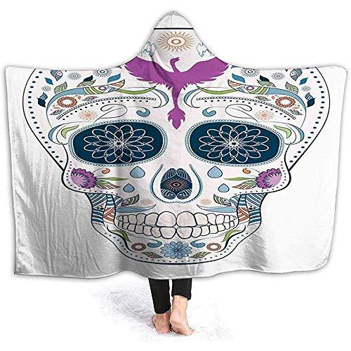 """L.R.D 50""""x40"""" Hooded Blanket Hood Cloak Cape Tragbare Kuscheldecke, traditioneller mexikanischer Totenkopf mit abstrakten Blättern und Phönixvogel verziert"""