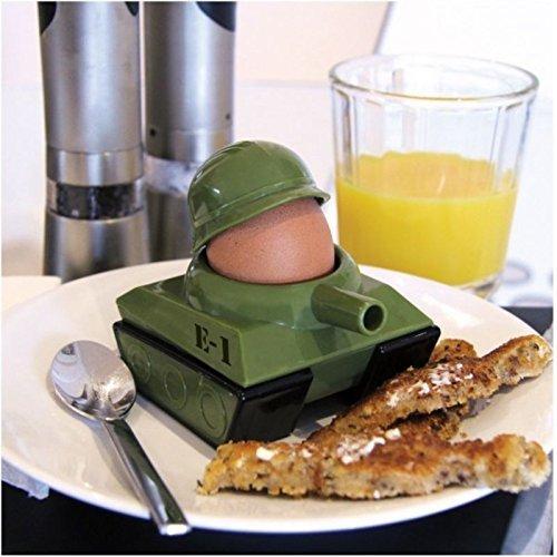 GeschenkIdeen.Haus - Panzer Eierbecher mit Toastschneider - Soldat Krieg mit Toastschneider
