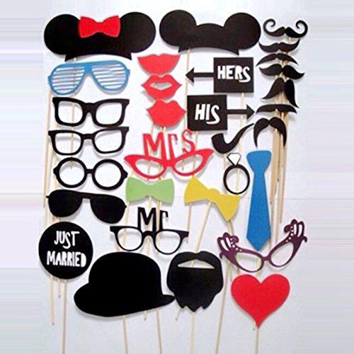 DIY-Maske Photo Booth Prop von Schnurrbart auf einem Stock für Hochzeit, Halloween, Thanksgiving, Weihnachten, Geburtstag Partei-Bevorzugung (31 Stück Frisch verheiratet)