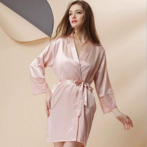 WDDGPZSY Nachthemd/Nachtwäsche/Schlafhemd/Homewear/Pyjamas/Lace Frauen Robe Soft Breathable Bademäntel Lounge, Hellrosa, One-Size -