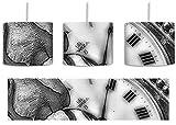 Monocrome, rote Rose auf alter Uhr inkl. Lampenfassung E27, Lampe mit Motivdruck, tolle Deckenlampe, Hängelampe, Pendelleuchte - Durchmesser 30cm - Dekoration mit Licht ideal für Wohnzimmer, Kinderzimmer, Schlafzimmer