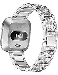 Bandas Bling compatibles con con Fitbit Versa, Versa Lite y Versa 2. Pulsera de metal Banda de repuesto Pulsera Accesorios Correa para mujer