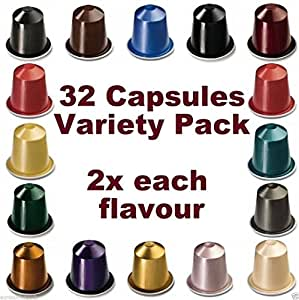 32 nespresso capsules starter pack 2x full coffee range grocery. Black Bedroom Furniture Sets. Home Design Ideas