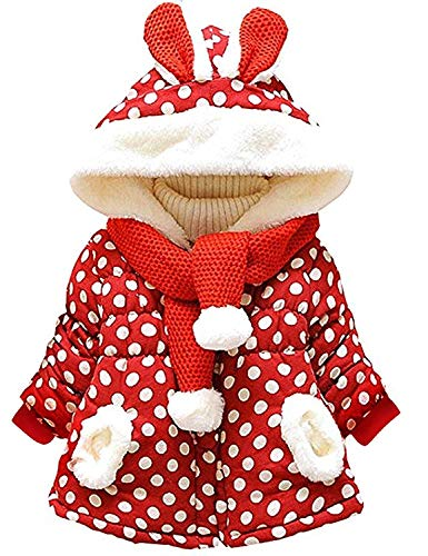 Tkiames Baby Mädchen Mäntel -Jacken, Kapuzenjacke für Kaninchen Fleecefutter mit Bowknot Gefüttert Jacket 0-4 Jahre (2 Jahren(Herstellergröße:92-98), Rot)