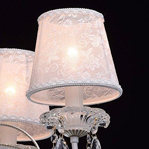 Eleganter Kronleuchter Metall weiße Stoffschirme 5 flammig Kristall klar - 7