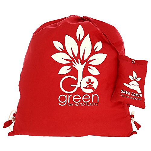 Multiuso Save the Earth coulisse Top zaino Red - amichevole riutilizzabile di Eco Borsa in cotone Shopping