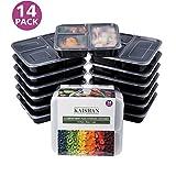 [14er Pack] 3-Fach Meal Prep Container Set Auslaufsicher Mikrowellenfest BPA-Frei Einfrierbar Bento Lunch Box Essen box Sets von KAISHAN