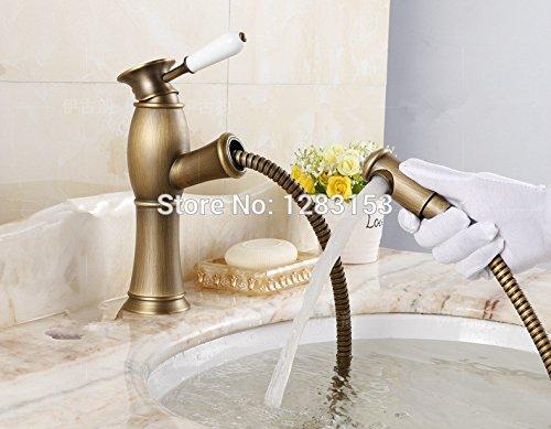Tougmoo alta qualità ottone antico doccetta estraibile, rubinetti bacino mix Draw viso acqua valvola rubinetto (Valvola A 3 Spool)