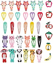 36PCS Multicolored Hair Clips Cartoon Animal Small Snap Clips Metal Barrettes Multiple Style Clips Hair Access