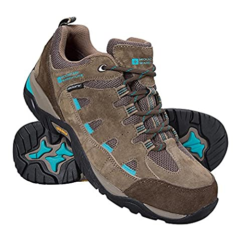 Mountain Warehouse Crest Women's Waterproof IsoGrip Shoes - Waterproof & Breathable IsoDry Membrane with Nubuck Leather, PU Insole, Padded Ankle & Tongue Brown 4 UK
