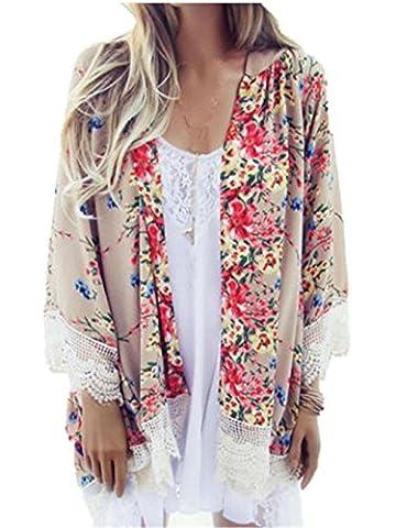 Veste Kimono Femme - Manteau Femme, Kolylong® Femmes En Mousseline ImpriméE