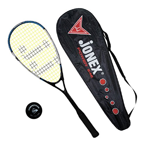 Jonex Aluminum Squash Racket with DUNLOP Ball,(Multi-Colour)