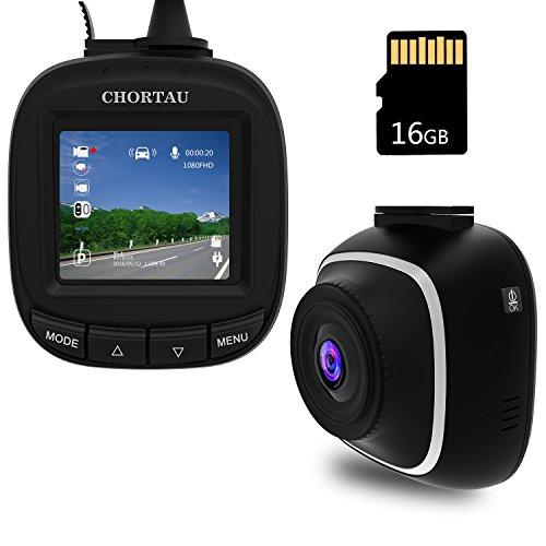 CHORTAU Mini Caméra de Voiture Full HD 1080P, Dashcam Voiture 1,5 Pouces avec Grand Angle de 140°, Enregistrement en Boucle, G-sensor, Détection de Mouvement, Moniteur de Stationnement - Carte Micro SD de 16Go Incluse