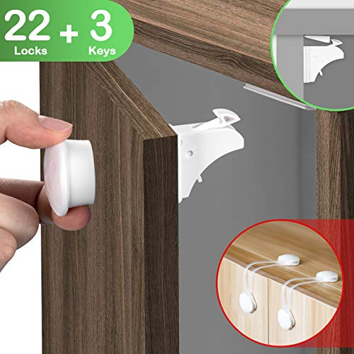 COSYLAND Baby Sicherheit Magnetisches Schrankschloss unsichtbare Kindersicherung für Schrank und Schubladen ohne Bohren und Schrauben (22 Schlösser+3 Schlüssel+2 Türsicherung)