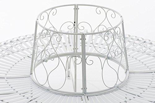 CLP 360° Metall Baum-Bank KAYDEN, Landhaus-Stil, rund Ø ca. 50 cm / 150 cm (innen/außen), Eisen lackiert, bis zu 6 Farben wählbar Weiß - 4