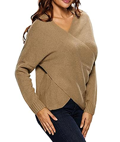 MissSoul Womens Knitted Jumpers Drop Shoulder Sweatshirt Cross Wrap Pullover Sweater Tops,Khaki XL/UK