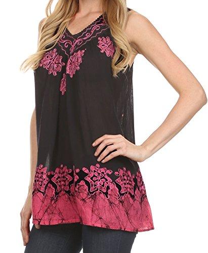 Sakkas Batik Bestickt mit V-Ausschnitt ärmellose Bluse Schwarz / Hot Pink