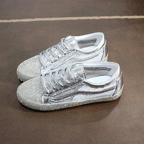 NGRDX&G Silbernes Turnschuh-Frauen-Netz Beschuht Weiße Schuhe, Silber B, 37