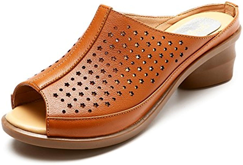 PENGFEI Zapatillas Pantofola Verano Hembra Medio Talón Zapatos De Tacón Grueso Hueco De Mediana Edad Y Más Viejo...