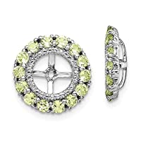 925 Sterling Silver Rhodium plated Diamond and Peridot Earrings Jacket Jewelry Gifts for Women