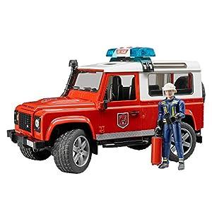 Bruder Spielwaren- Bruder 02596-Land Rover Defender, Station Wagon,Pompieri, Colore Rosso, 02596 1188, months LEGO